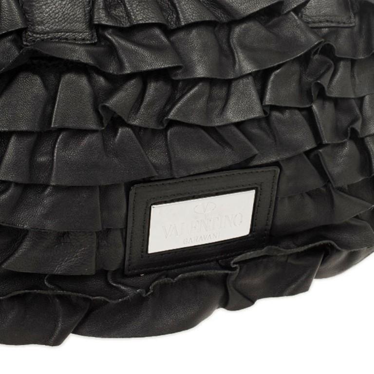 Valentino Garavani Black Ruffled Small Satchel For Sale 3