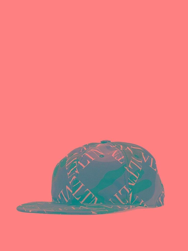 Gray Valentino Garavani Camouflage VLTN Grid Baseball Cap For Sale