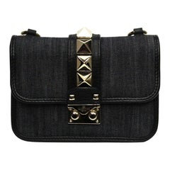 Valentino Garavani Glam Lock Denim Shoulder Bag