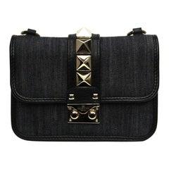 Valentino Garavani Glam Lock Denim Shoulder Bag