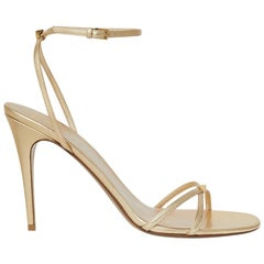 Valentino Garavani Gold Strappy High Heel Leather Sandals Size IT 39.5