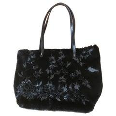 Valentino Garavani Large Sheared Black Mink Embellished Handbag