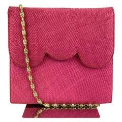 Valentino Garavani Night Vintage Hot Pink Raffia Evening Bag