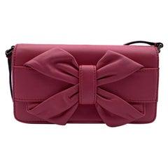 Valentino Garavani Pink Leather Bow Crossbody Shoulder Bag