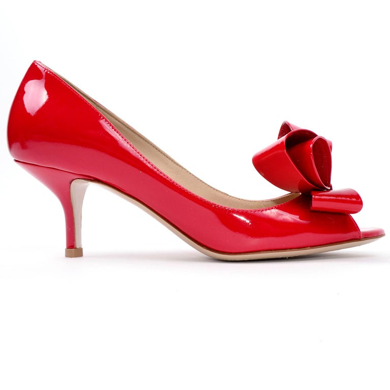 Women's Valentino Garavani Red Leather Bow Shoes With 2.5