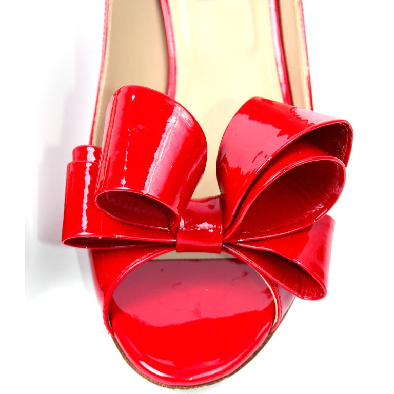 Valentino Garavani Red Leather Bow Shoes With 2.5