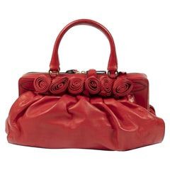 Valentino Garavani Red Petale Rose Top Handle Bag