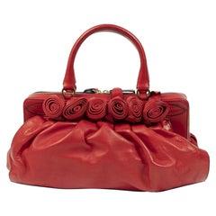 Valentino Garavani Red Petale Rose Top Handle Bag