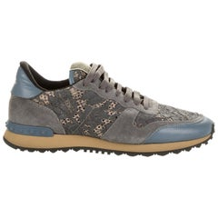 Valentino Garavani Rockstud Lace and Suede Trimmed Sneakers