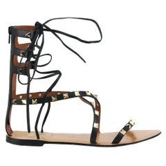 Valentino Garavani Rockstud Lace Up Leather Sandals