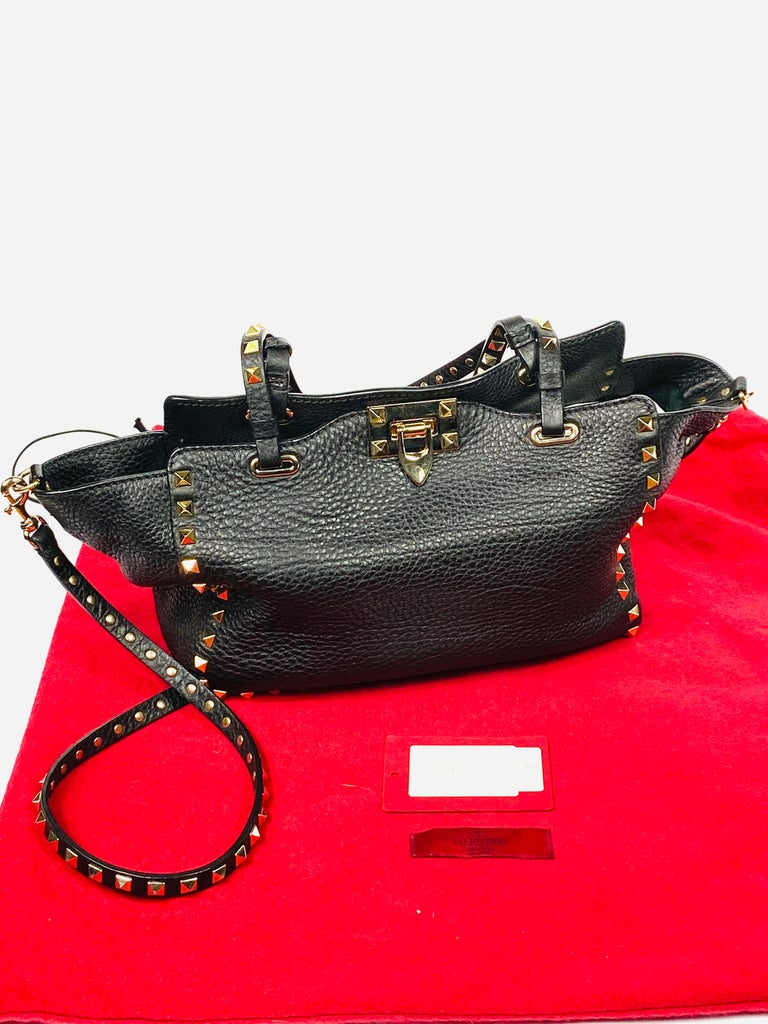 Valentino Garavani Rockstud Mini Vitello Black Leather Tote Shoulder Handbag For Sale 10