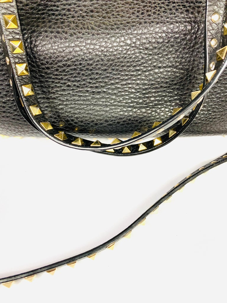 Valentino Garavani Rockstud Mini Vitello Black Leather Tote Shoulder Handbag In New Condition For Sale In  Beverly Hills, CA
