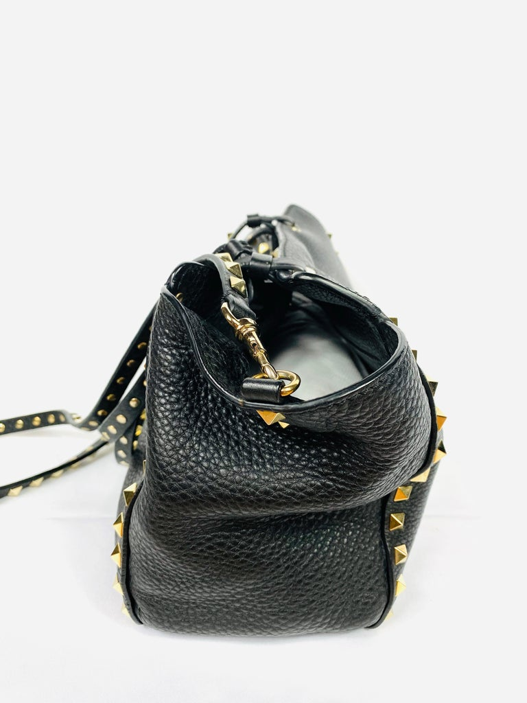 Valentino Garavani Rockstud Mini Vitello Black Leather Tote Shoulder Handbag For Sale 1