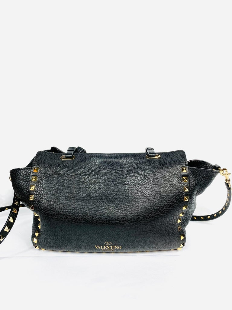 Valentino Garavani Rockstud Mini Vitello Black Leather Tote Shoulder Handbag For Sale 2