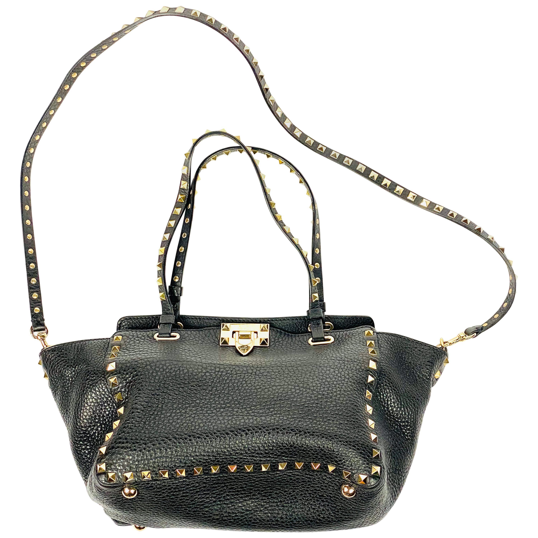 Valentino Garavani Rockstud Mini Vitello Black Leather Tote Shoulder Handbag