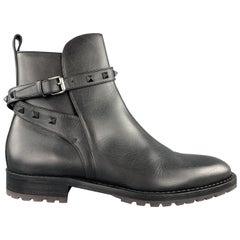 VALENTINO GARAVANI Size 11 Black Studded Leather Belted BEATLE Boots
