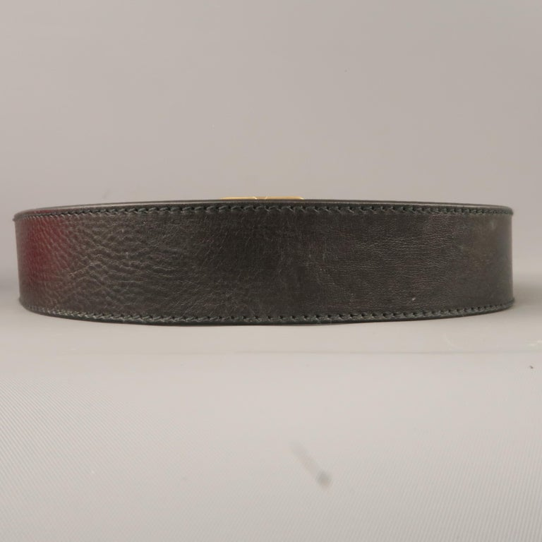VALENTINO GARAVANI Size 34 Black Leather Belt In New Condition For Sale In San Francisco, CA