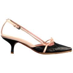 VALENTINO GARAVANI Size 9 Black & Pink Leather Kitten Heel Pumps