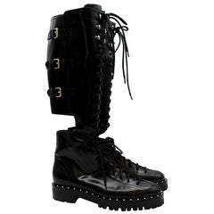 Valentino Garavani Soul Rockstud Black Combat Boots 38