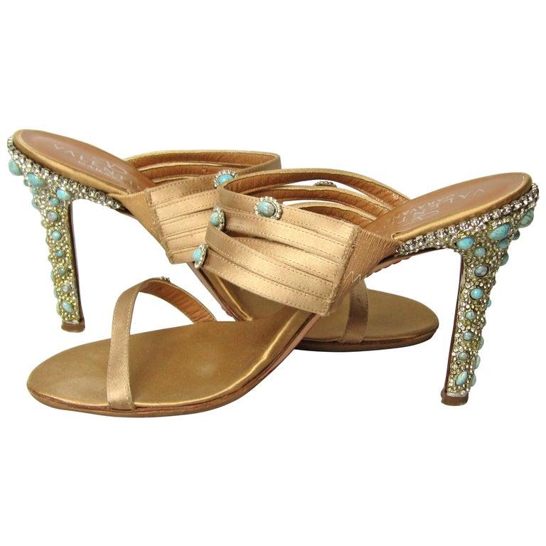 Valentino GARAVANI Turquoise Swarovski crystal studded Shoe  For Sale