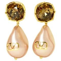 Valentino Garavani V-Logo Crystal & Faux Pearl Pierced Drop Earrings rt. $600
