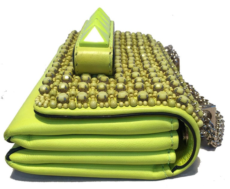 Brown Valentino Garavani Va Va Voom Neon Studded Knuckle Clutch with Strap For Sale