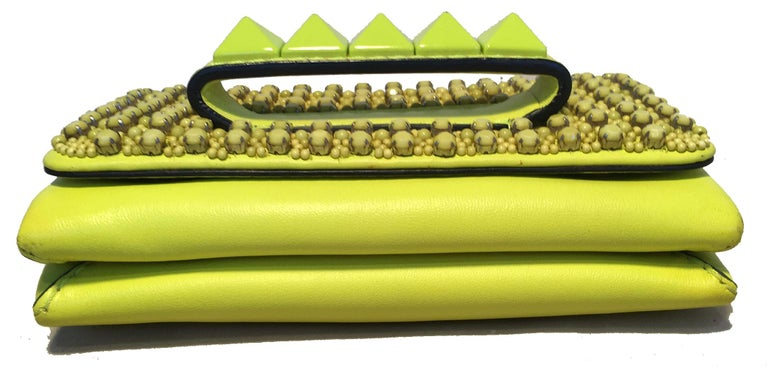 Valentino Garavani Va Va Voom Neon Studded Knuckle Clutch with Strap In Excellent Condition For Sale In Philadelphia, PA