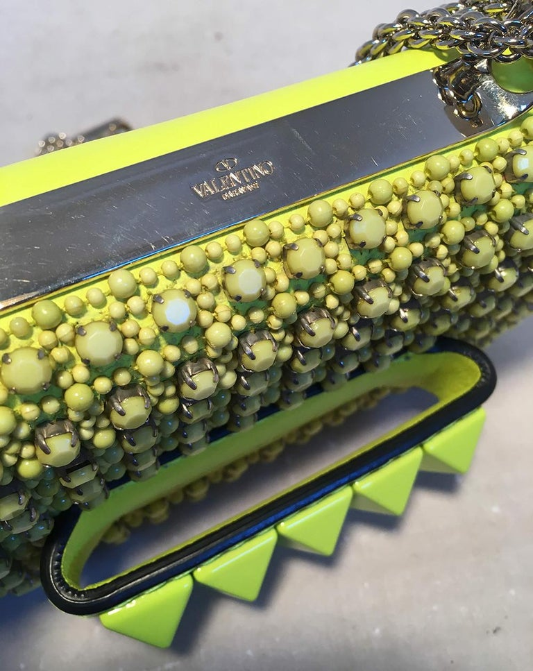 Women's Valentino Garavani Va Va Voom Neon Studded Knuckle Clutch with Strap For Sale