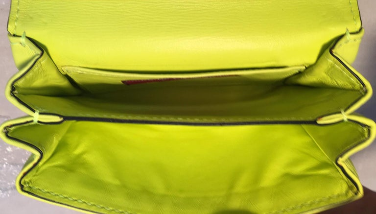 Valentino Garavani Va Va Voom Neon Studded Knuckle Clutch with Strap For Sale 1