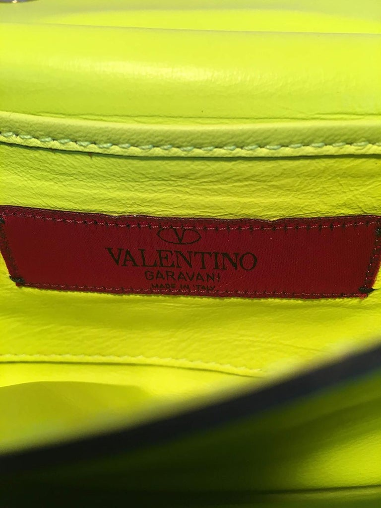 Valentino Garavani Va Va Voom Neon Studded Knuckle Clutch with Strap For Sale 2