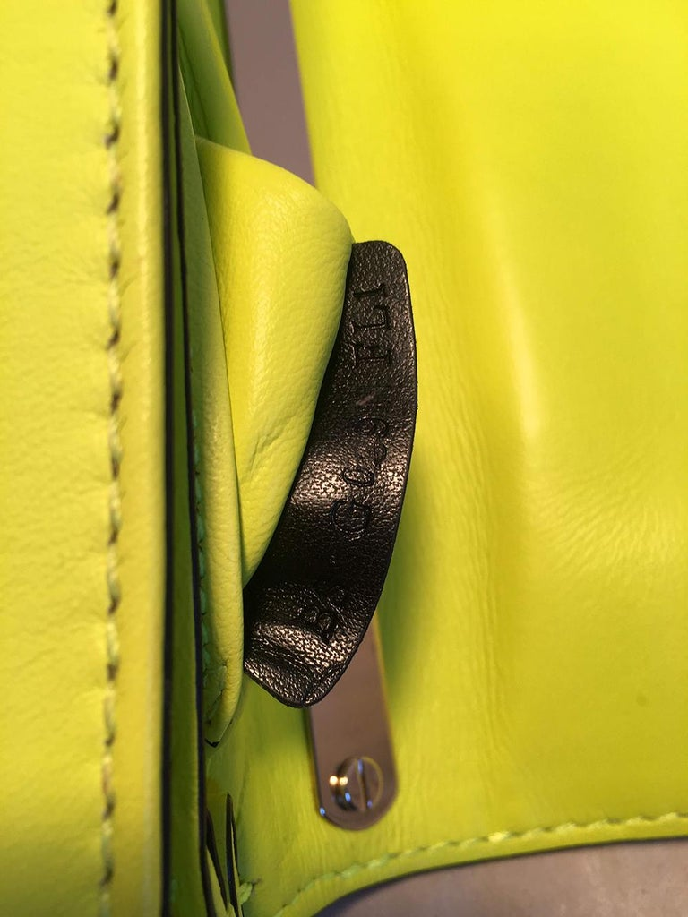 Valentino Garavani Va Va Voom Neon Studded Knuckle Clutch with Strap For Sale 3