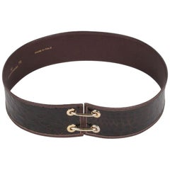 VALENTINO GARAVANI Vintage Brown Embossed Leather WAIST BELT Size 70