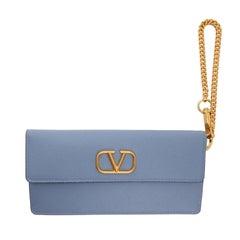 Valentino Garavani Vlogo Baby Blue Pouch With Chain Wallet