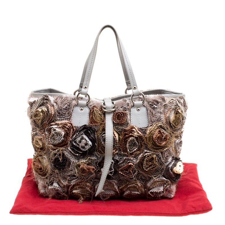 Valentino Gery Fabric and Leather Flower Tote For Sale 6