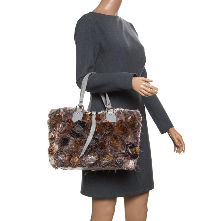 Brown Valentino Gery Fabric and Leather Flower Tote For Sale