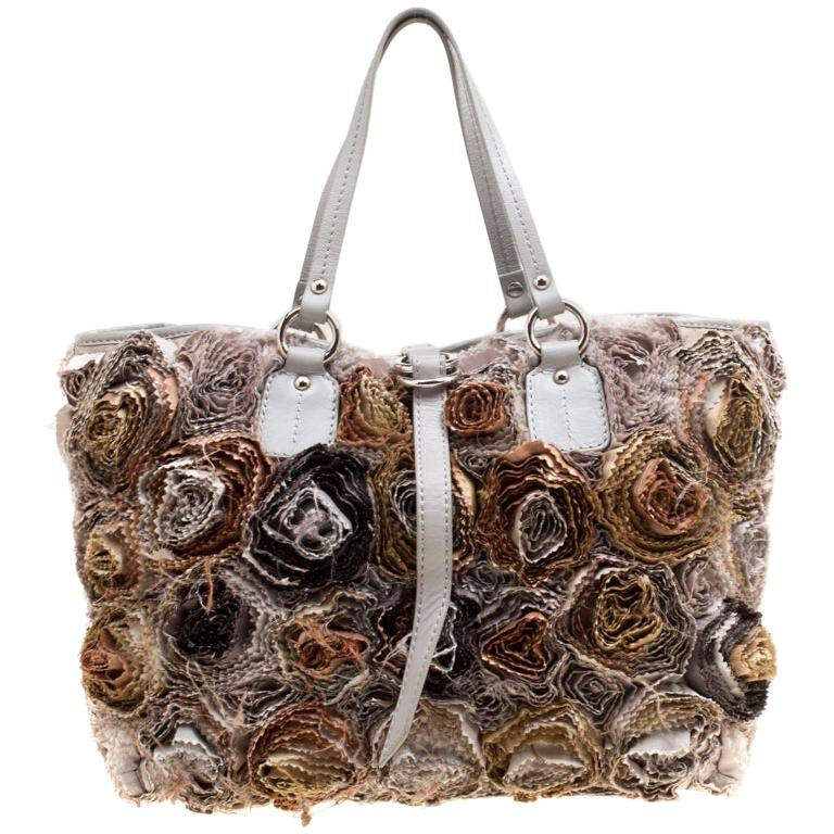 Valentino Gery Fabric and Leather Flower Tote For Sale