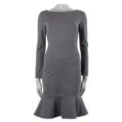 VALENTINO gey wool blend Long Sleeve TRUMPET KNIT Dress 6