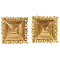 Valentino Gilt Metal Pyramid Clip Earrings