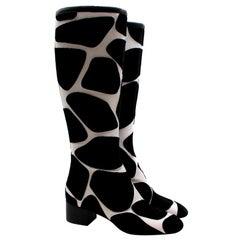 Valentino Giraffe Print Black City Safari Boots - Us size 10