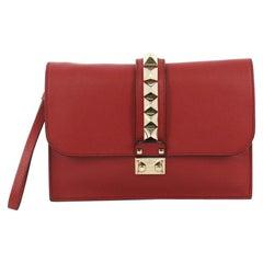 Valentino Glam Lock Clutch Leather