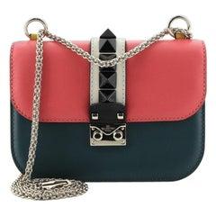 Valentino Glam Lock Covered Studs Handbag Leather Small