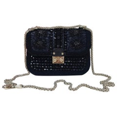 Valentino Glam Lock Crystal-Covered Black Bag