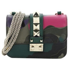 Valentino Glam Lock Shoulder Bag Camo Leather and Canvas Mini