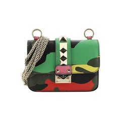 Valentino Glam Lock Shoulder Bag Camo Leather and Canvas Small