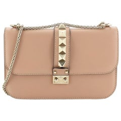 Valentino Glam Lock Shoulder Bag Leather Medium