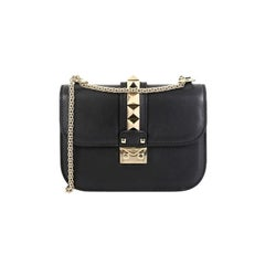 Valentino Glam Lock Shoulder Bag Leather Small