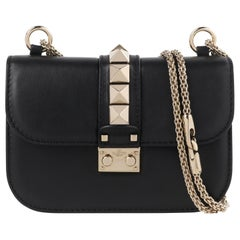 "VALENTINO ""Glam Rock"" Black Leather Studded Venetian Chain Strap Shoulder Bag"