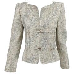 Valentino Glitter Silver Dot Metallic Gathered Waist Jacket