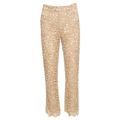 Valentino Gold Embroidered Floral Lace Pants S