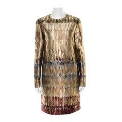 Valentino Gold Feather Patterned Jacquard Lurex Insert Shift Dress M